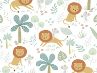 Little Mouse Prince Pattern Design pastel cute art patterndesignforkids surface pattern design kidsdesigns software jungle mouse lion pattern design cute illustration