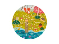 Plate design Maze game illustrator grass mushroom game maze flowers childrens illustration cute forest rabbit fishes squirrel acorn homedecorekids homedecore kids illustration platedesign kids illustration