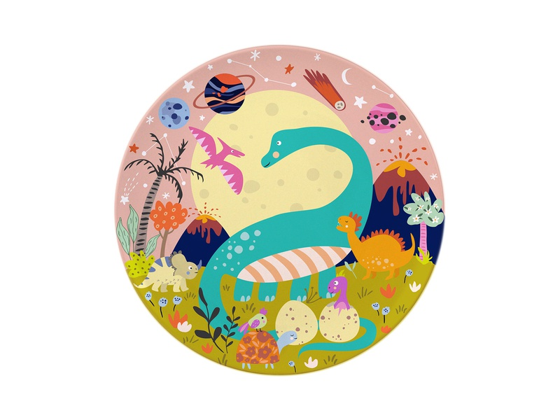 Kids Plate design - Dinosaurs kidshomedecore homedecore surface design flowers trees birds eggs space moon cute pink palmtree stars digital illustration dinosaurs pattern illustrator design illustration