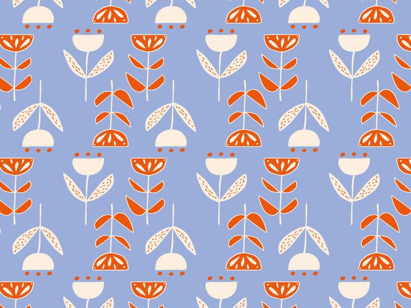 Folk Flowers Pattern art marker handdrawn blue orange patterndesigner homedecore surface pattern design patterndesign folkillustration folk art flowers flower folk pattern illustrator illustration
