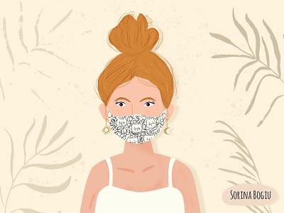 Messy bun and Face mask. modern illustrator girl illustration cute art moon sun summer palmleaf facemask messybun photoshop cute illustration