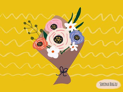 Flower Bouquet Illustration for a Thank You Card handdrawn brushpen leaf flowerbouquet flower flowers editorial homedecore nature pink cute pattern design illustrator illustration