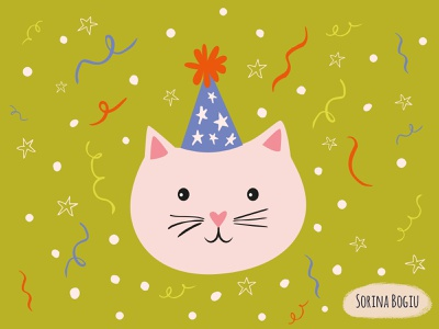 Happy Birthday Card kidsillustration fun surfacepatterndesign greetingcarddesigner stars star confetti party greetingcard catface cat homedecore vector green pattern design illustrator cute illustration