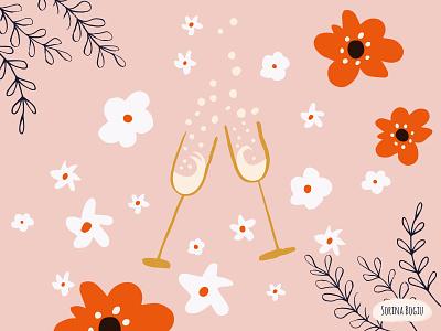 Congratulations Card congratulation flower illustration artlicensing greetinngcart surfacepatterndesigner surface design whiteflowers bubbles champagne glass flower pink pattern design illustrator illustration