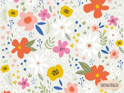 Field Trip Flowers blue surface pattern design patterndesign green pink wildflowers flower nature pattern design illustrator illustration