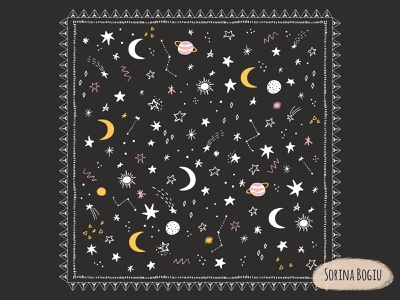 Stars and Moon artlicensing surface pattern design pattern design fun moon star cute pattern design illustrator illustration