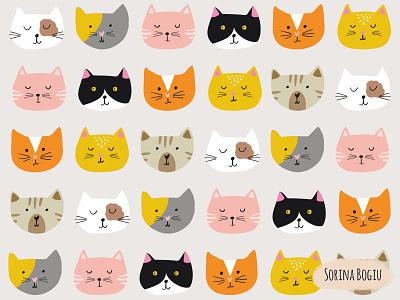 Funky Cat Faces homedecorekids surface pattern design patterndesigner patterndesign kids illustration catfaces cats cat vector pattern design cute illustrator illustration