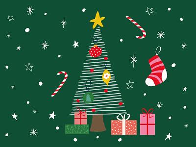 Christmas Tree Card christmasdecoration flower yellow starship christmas tree snowflakes snow stars presents winter greeting card christmastree christmas homedecore vector green pattern design illustrator illustration