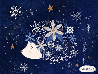 Arctic Hedgehog illustrator poinsettia winter patterndesigner surfacepatterndesign artlicensing snowflake snow stars bluechristmas blue xmas christmas card christmas hedgehog photoshop pattern design cute illustration