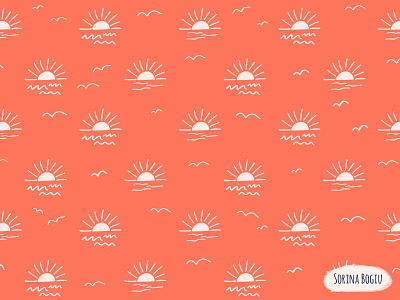 Mystic Sunset Pattern wave cute kidspattern nurserydecore nature art mystic handdrwan patternlove textiledesigner summer orange surface pattern design patterndesigner sun sunset nature design pattern illustrator illustration