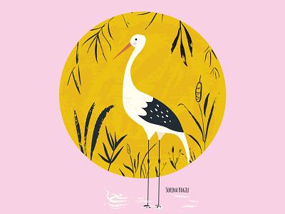 Stork Illustration cute art handdrawn sun pink childrens illustration children book illustration kidsdesign bird stork homedecore vector design cute illustrator illustration
