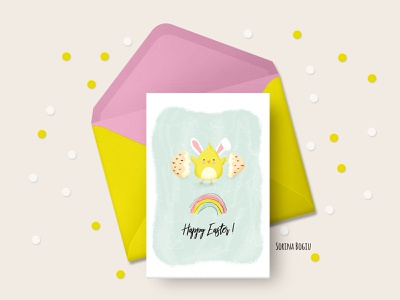 Happy Easter Card Design carddesigner easter bunny egg chicken yellow cute art fun greetingcard happyeaster eastercard easter hand drawn watercolor photoshop illustrator cute illustration