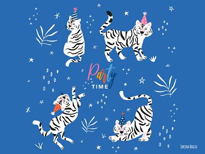 White Tiger Party Time artlicensing greetingcarddesign jungle kidsdesign surfacepatterndesign party whitetiger tiger blue vector homedecore pink pattern design cute illustrator illustration
