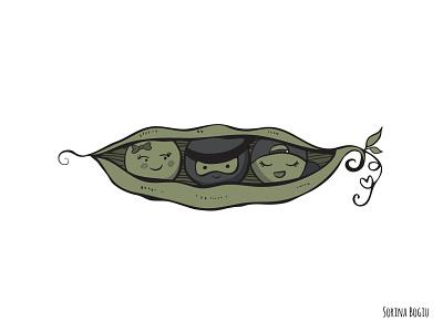 3 Peas in a pod Tattoo Illustration vector tattoodesign tattoo green peasinapod design cute illustrator illustration