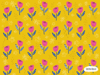 Wild Bloom Pattern pink fabricdesigner textildesigner designer brushpen handdrawn abstract surfacepatterndesign floralpattern flowers floral cute pattern illustrator illustration