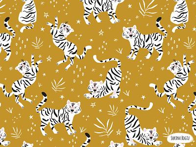 White Tiger Pattern on a gold background pattternlove modern habddrawn stars nursery kidsdesign surfacepatterndesign textiledesigner pattterndesigner patterndesign tigerpattern whitetiger tiger gold pink pattern design cute illustrator illustration