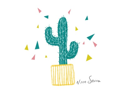 Cactus illustration plant illustration nature pink green cactus day1 100dayproject