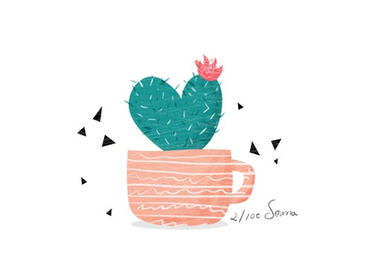 Heart cactus plant illustration nature pink green cactus day2 100dayproject