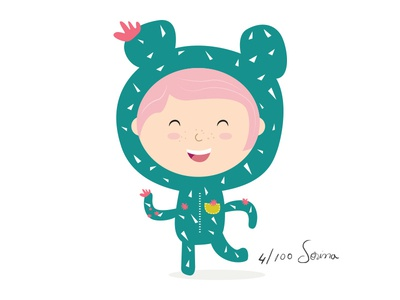 I am a Cactus costume girl cacti plant illustration nature pattern pink green cactus day4 100dayproject