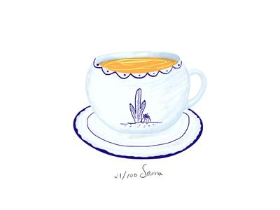 Tea cup orange blue drawing cacts illustration cup tea