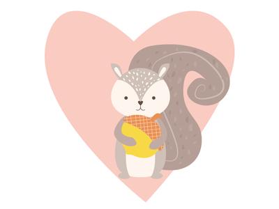 Taday it's Squirrel Appreciation Day fluffy acorn nut squirrelappreciationday wild animal chipmunk kidsillustration kidsdesign character heart wild vector squirrel illustrator cute pink illustration