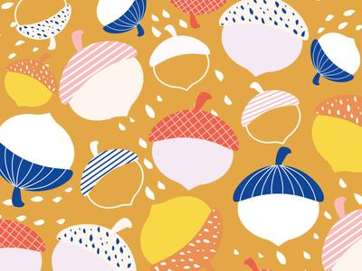 Acorn Pattern vector design blue fun graphic dots acorns acorn patternlove pattern illustrator cute nature illustration