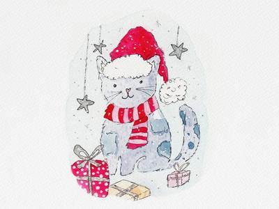 Watercolor Cat paint winter card design christmas card christmas cat watercolor design cute illustration