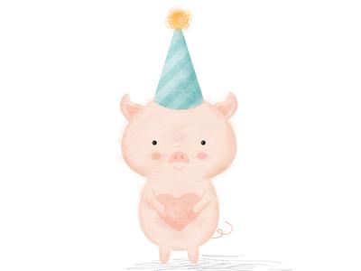 Happy Chinese New Year! pigillustration animalillustration piglet digitalart yearofthepig cuteillustration childrensillustration drawing chineseyear chinesenewyear pig vector photoshop pink cute illustration