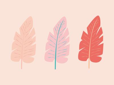 Banana Leaves cute leaves banana banana leaves illustrator vector design nature pink illustration