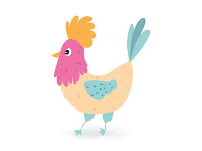 Chicken illustrator pink cute vector design chicken illustration