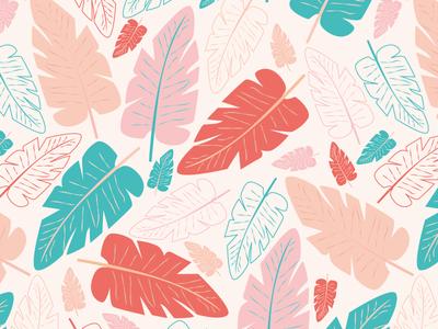 Banana Leaves Pattern illustrator patternlover stationary trending trend tropical coral exotic nature pink banana bananaleaf leaf leaves surface pattern design surface design patterndesign pattern illustration