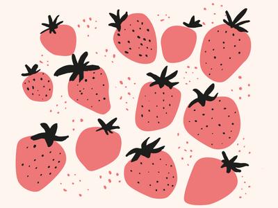 Strawberries design illustrator pattern pink cute handdrawn vector illustration