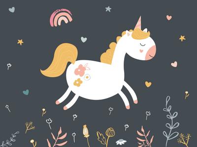 Happy National Unicorn Day rainbow flowers nationalunicornday unicorn vector illustrator design pink cute illustration