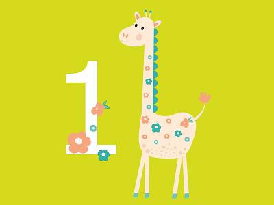 Giraffe greeting card giraffe vector design cute green illustration