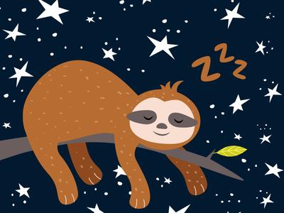 Sleepy Sloth night stars children book illustration kidsillustration dreams animal green illustrator design cute illustration sleep sloth