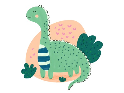 Dinosaur green pink editorial design editorial kids illustration wacom intuos dinosaur photoshop design cute illustration