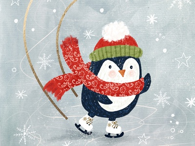 Penguin ice snowflake stars snow wacom watercolor artlicensing createchristmas iceskating xmas victorianchristmas licensing greeting card christmascard christmas penguin illustrator nature cute illustration