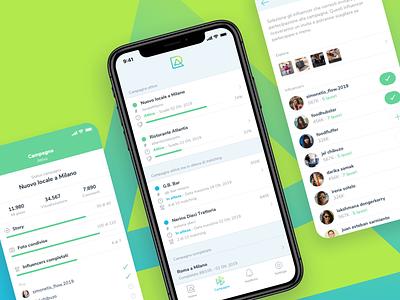 RoundAbout App activity progress minimal eplore user post job influencer report stats list iphone design idenity color brand ux ui mobile app