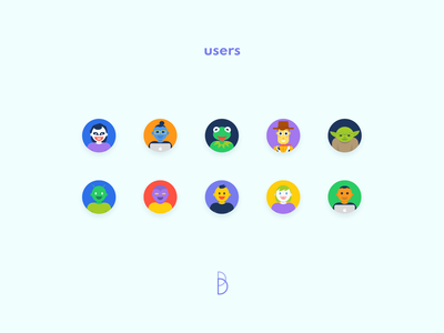Users gradient new style person user draw circle identity brand color flat minimal avatar