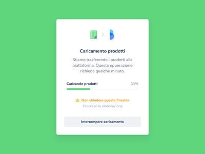 Upload — Excel to Cloud / eCommerce app ecommerce anticipa theme button fast percent operation product upload alert file load popup ux ui minimal brand excel brainin