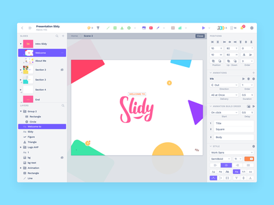 Slidy · Concept team collaborative platform keynote ux ui concept slideshow cloud tasks notify share live play board composition community template presentation slide