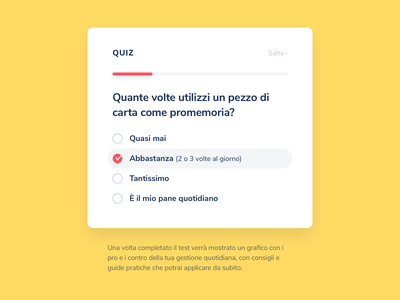 Anticipa / Quiz question answer cool smart test skip status check title progress design ux ui color yellow wizard popup pop minimal