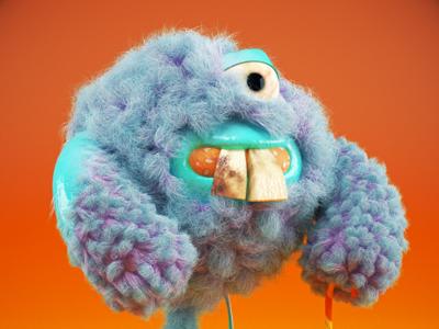 Spongy furry c4d character 3d cartoon toy hair fur