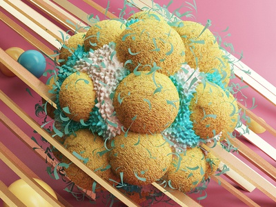 Hairy spongy cell design octane c4d abstract 3d daily instagram cell