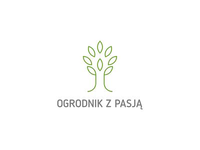 ogrodnik z pasją minimalist minimal symbol logo work grass shovel nature green tree passion gardener garden