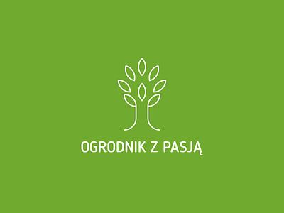 ogrodnik z pasją 2 garden gardener passion tree green nature shovel grass work minimalist logo symbol minimal minimalist