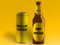 Beer can & beer bottle mockup