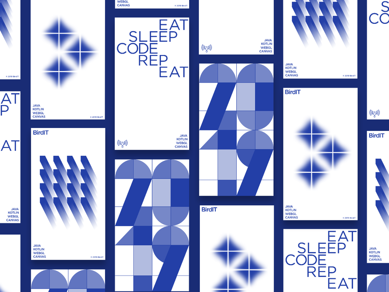 BirdIT - posters development app illustration posters logo typography colourful mark branding design minimal