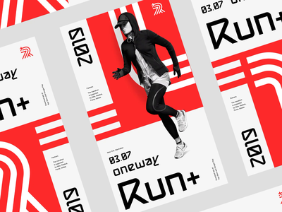 RunPlus - event posters brand event posters poster health sport run digital animation typography monogram letter mark logo minimal design branding