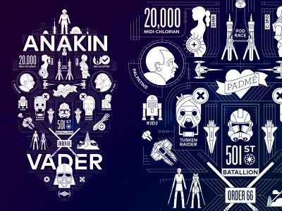 Anakin to Vader geometric icons how to process skywalker darth vader star wars